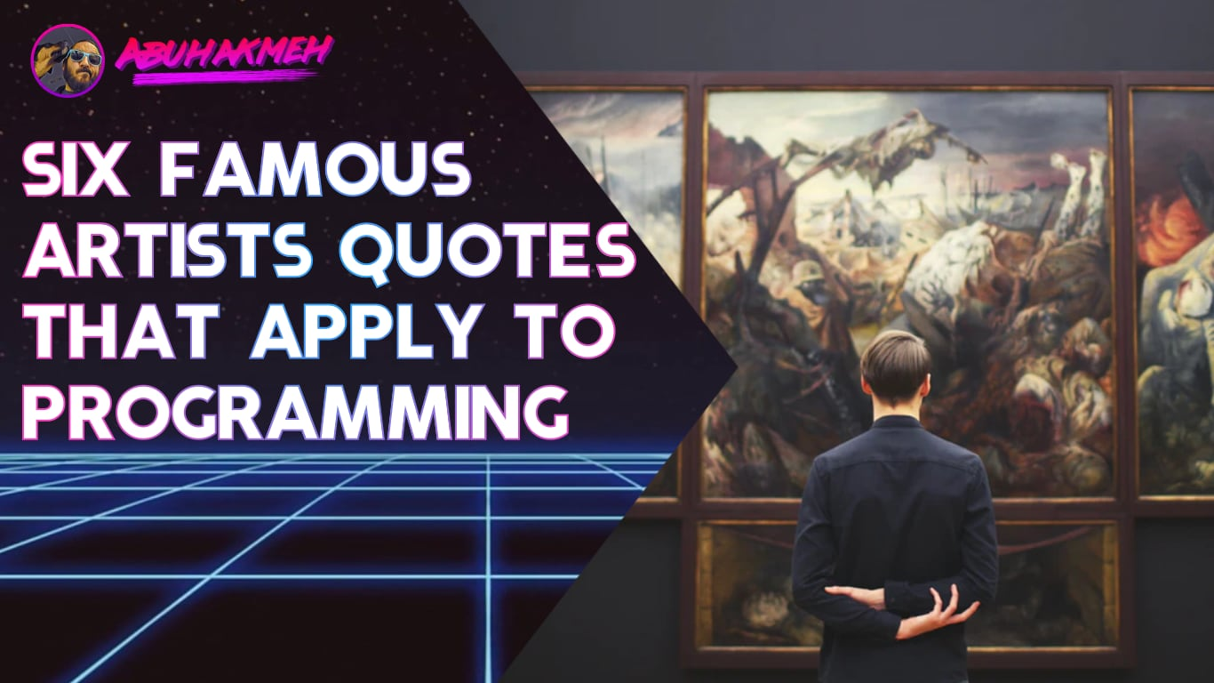 man looking at art on wall